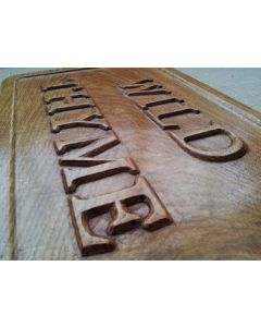 Deluxe hand carved house sign detail
