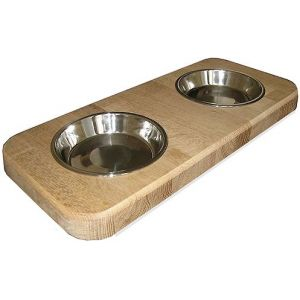 Twin pet bowl holder - medium (Block Oak)