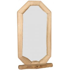 Long Hexagon Rustic Mirror With Shelf - Medium
