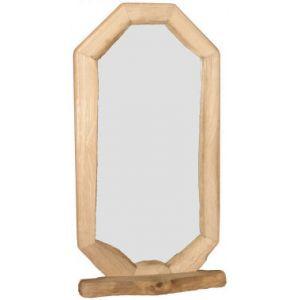 Long Hexagon Rustic Mirror With Shelf - Medium
